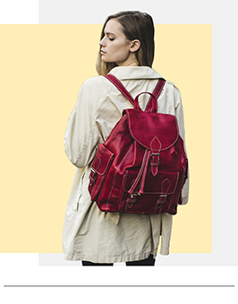 coloured leather backpack rucksack london